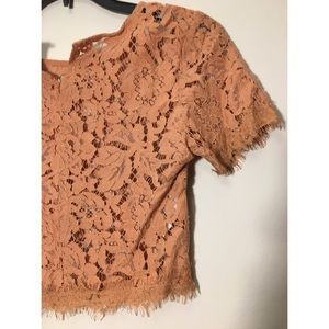 Forever 21 pink/light coral lace crop top Size XS